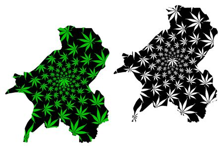 Taraba State (Subdivisions of Nigeria, Federated state of Nigeria) map is designed cannabis leaf green and black, Taraba map made of marijuana (marihuana,THC) foliage Illustration