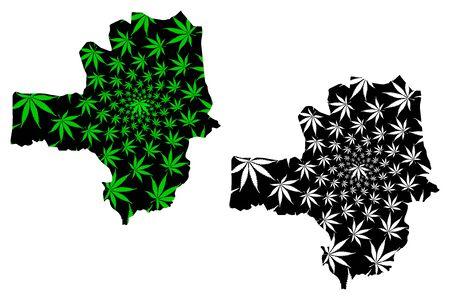 Zamfara State (Subdivisions of Nigeria, Federated state of Nigeria) map is designed cannabis leaf green and black, Zamfara map made of marijuana (marihuana,THC) foliage Illustration
