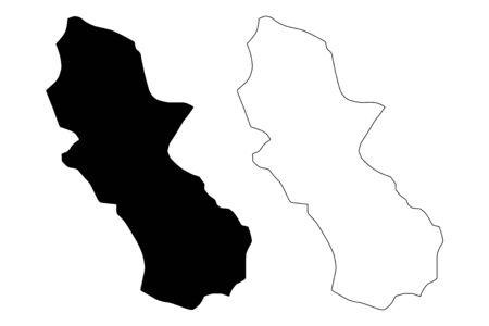 Cuscatlan Department (Republic of El Salvador, Departments of El Salvador) map vector illustration, scribble sketch Cuscatlán map
