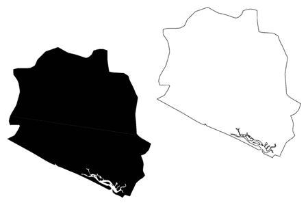 La Paz Department (Republic of El Salvador, Departments of El Salvador) map vector illustration, scribble sketch La Paz map 일러스트