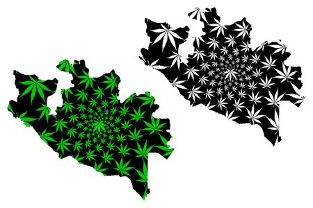 Niger State (Subdivisions of Nigeria, Federated state of Nigeria) map is designed cannabis leaf green and black, Niger map made of marijuana (marihuana,THC) foliage Illustration