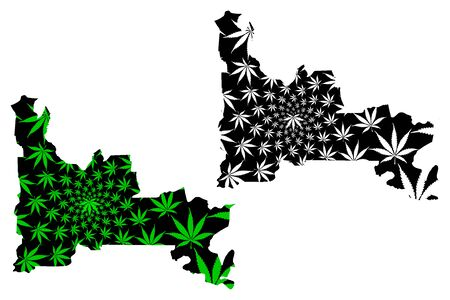 Ogun State (Subdivisions of Nigeria, Federated state of Nigeria) map is designed cannabis leaf green and black, Ogun map made of marijuana (marihuana,THC) foliage