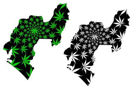 Ondo State (Subdivisions of Nigeria, Federated state of Nigeria) map is designed cannabis leaf green and black, Ondo map made of marijuana (marihuana,THC) foliage Illustration