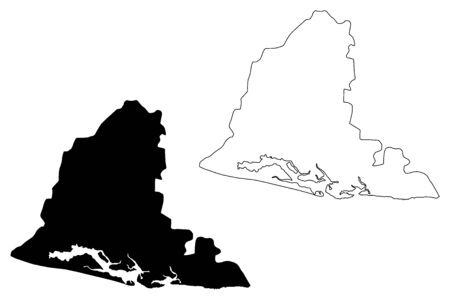 Usulutan Department (Republic of El Salvador, Departments of El Salvador) map vector illustration, scribble sketch Usulután map 일러스트