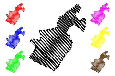 Barahona Province (Dominican Republic, Hispaniola, Provinces of the Dominican Republic) map vector illustration, scribble sketch Barahona map