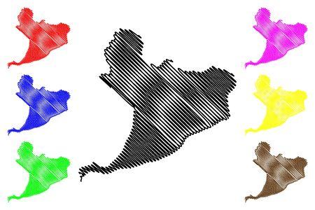 Distrito Nacional Province (Dominican Republic, Hispaniola, Provinces of the Dominican Republic) map vector illustration, scribble sketch  Santo Domingo (D.N.) map