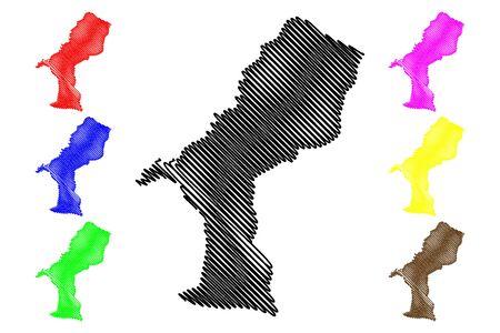 Elias Pina Province (Dominican Republic, Hispaniola, Provinces of the Dominican Republic) map vector illustration, scribble sketch Elías Pina map