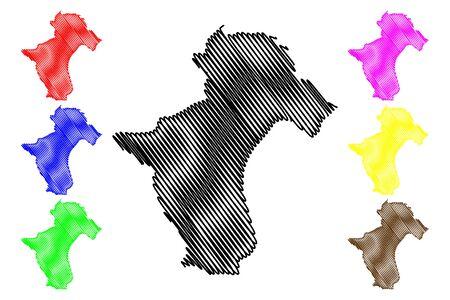 La Vega Province (Dominican Republic, Hispaniola, Provinces of the Dominican Republic) map vector illustration, scribble sketch La Vega map
