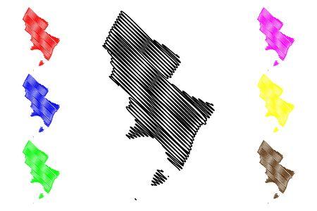 Pedernales (Dominican Republic, Hispaniola, Provinces of the Dominican Republic) map vector illustration, scribble sketch Pedernales (Isla Beata) map