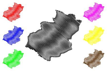 Santiago Province (Dominican Republic, Hispaniola, Provinces of the Dominican Republic) map vector illustration, scribble sketch Santiago map 일러스트