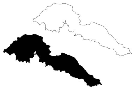 Jalal-Abad Region (Kyrgyz Republic, Kirghizia, Regions of Kyrgyzstan) map vector illustration, scribble sketch Jalalabat map