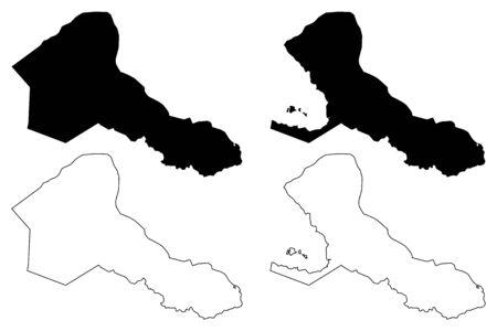 Rio San Juan Department (Republic of Nicaragua, Departments of Nicaragua) map vector illustration, scribble sketch Río San Juan (NI-SJ) map 일러스트