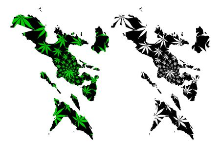 Bicol Region (Regions and provinces of the Philippines, Republic of the Philippines) map is designed cannabis leaf green and black, Ibalong (Region V) map made of marijuana (marihuana,THC) foliage,