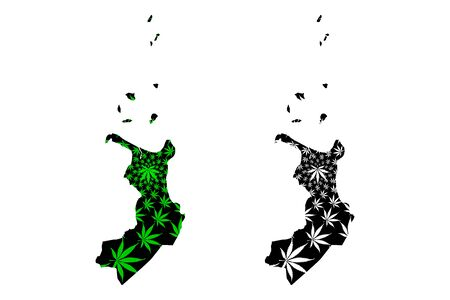 Cagayan Valley (Regions and provinces of the Philippines, Republic of the Philippines) map is designed cannabis leaf green and black, Region II map made of marijuana (marihuana,THC) foliage, Illustration