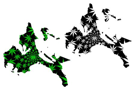 Calabarzon Region (Regions and provinces of the Philippines) map is designed cannabis leaf green and black, Southern Tagalog Mainland map made of marijuana (marihuana,THC) foliage,