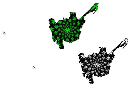 Central Luzon (Regions and provinces of the Philippines, Republic of the Philippines) map is designed cannabis leaf green and black, Region III map made of marijuana (marihuana,THC) foliage, Illustration