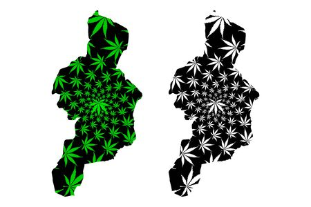 Cordillera Administrative Region (Regions and provinces of the Philippines) map is designed cannabis leaf green and black, Cordillera (CAR) map made of marijuana (marihuana,THC) foliage,  イラスト・ベクター素材