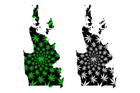 Caraga Region (Regions and provinces of the Philippines, Republic of the Philippines) map is designed cannabis leaf green and black, Region XIII map made of marijuana (marihuana,THC) foliage Illustration