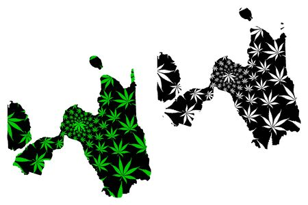 Northern Mindanao Region (Regions and provinces of the Philippines, Republic of the Philippines) map is designed cannabis leaf green and black, Region X map made of marijuana (marihuana,THC) foliage, Illustration