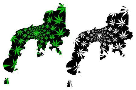Zamboanga Peninsula Region (Regions and provinces of the Philippines) map is designed cannabis leaf green and black, Western Mindanao (Region IX) map made of marijuana (marihuana,THC) foliage, Illustration