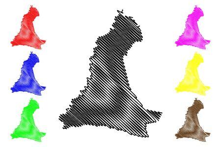 Neembucu Department (Departments of Paraguay, Republic of Paraguay) map vector illustration, scribble sketch Neembucú map