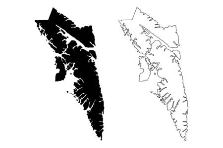 City and Borough of Sitka, Alaska (Boroughs and census areas in Alaska, United States of America,USA, U.S., US) map vector illustration, scribble sketch Novo-Arkhangelsk or New Archangel map