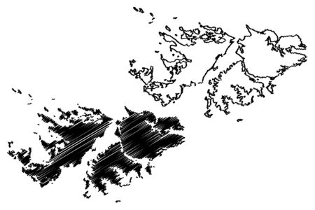 Falkland Islands (British Overseas Territory, United Kingdom) map vector illustration, scribble sketch Islas Malvinas (East and West Falkland) map