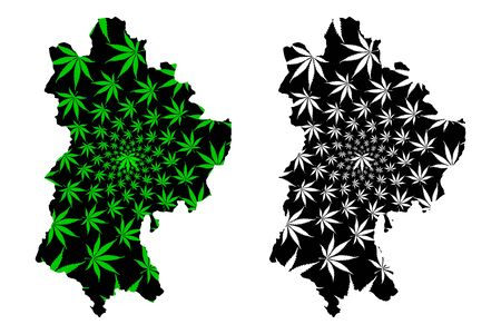 Bedfordshire (United Kingdom, England, Non-metropolitan county, shire county) map is designed cannabis leaf green and black, Beds. map made of marijuana (marihuana,THC) foliage, Illustration