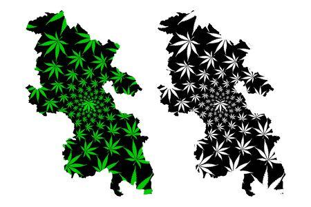 Buckinghamshire (United Kingdom, England, Non-metropolitan county, shire county) map is designed cannabis leaf green and black, Bucks map made of marijuana (marihuana,THC) foliage, Illustration