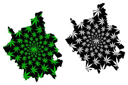 Cambridgeshire (United Kingdom, England, Non-metropolitan county, shire county) map is designed cannabis leaf green and black, Cambs. map made of marijuana (marihuana,THC) foliage,