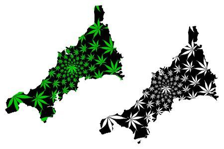 Cornwall (United Kingdom, England, Non-metropolitan county, shire county) map is designed cannabis leaf green and black, Cornwall map made of marijuana (marihuana,THC) foliage, Illustration