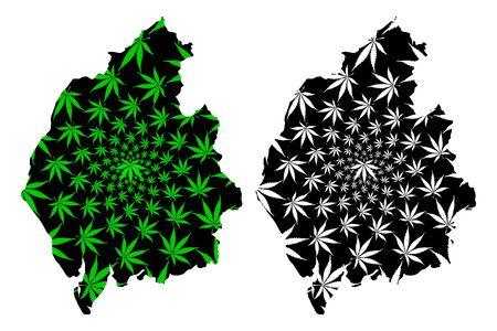 Cumbria (United Kingdom, England, Non-metropolitan county, shire county) map is designed cannabis leaf green and black, Cumbria map made of marijuana (marihuana,THC) foliage,