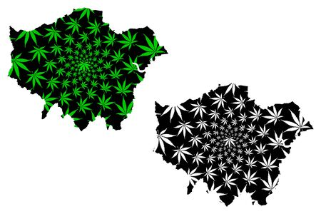 Greater London (United Kingdom, England) map is designed cannabis leaf green and black, London region map made of marijuana (marihuana,THC) foliage