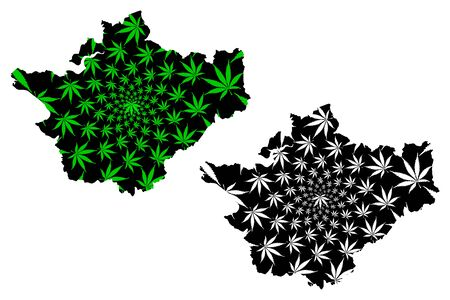Cheshire (United Kingdom, England, Non-metropolitan county, shire county) map is designed cannabis leaf green and black, County Palatine of Chester map made of marijuana (marihuana,THC) foliage