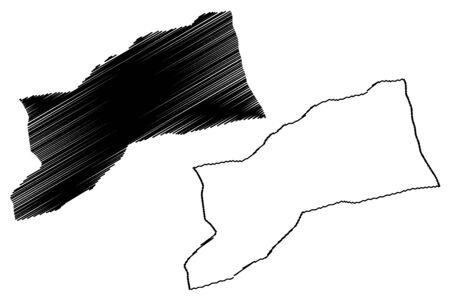 Sabha District (Districts of Libya, State of Libya, Fezzan) map vector illustration, scribble sketch Sabha map