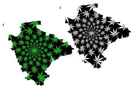 Devon (United Kingdom, England, Non-metropolitan county, shire county) map is designed cannabis leaf green and black, Devonshire map made of marijuana (marihuana,THC) foliage  イラスト・ベクター素材
