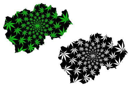 Durham (United Kingdom, England, Non-metropolitan county, shire county) map is designed cannabis leaf green and black, County Durham map made of marijuana (marihuana,THC) foliage