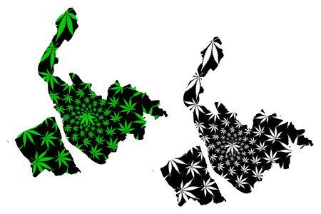 Merseyside (United Kingdom, England, Metropolitan county) map is designed cannabis leaf green and black, Merseyside map made of marijuana (marihuana,THC) foliage 版權商用圖片 - 132121315