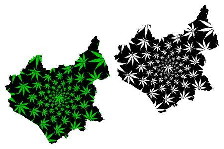 Leicestershire (United Kingdom, England, Non-metropolitan county, shire county) map is designed cannabis leaf green and black, Leics. map made of marijuana (marihuana,THC) foliage Illustration