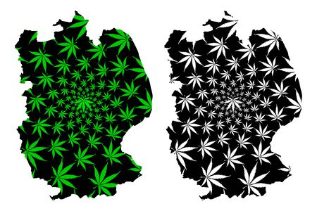 Lincolnshire (United Kingdom, England, Non-metropolitan county, shire county) map is designed cannabis leaf green and black, Lincs. map made of marijuana (marihuana,THC) foliage  イラスト・ベクター素材