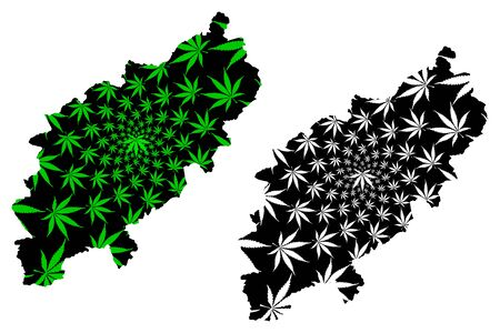 Northamptonshire (England, Non-metropolitan county, shire county) map is designed cannabis leaf green and black, County of Northampton (Northants.) map made of marijuana (marihuana,THC) foliage  イラスト・ベクター素材