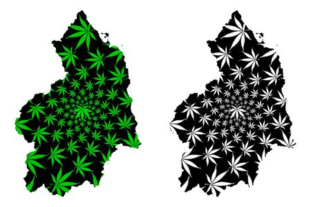 Northumberland (United Kingdom, England, Non-metropolitan county, shire county) map is designed cannabis leaf green and black, Northd map made of marijuana (marihuana,THC) foliage  イラスト・ベクター素材