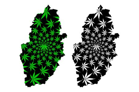 Nottinghamshire (United Kingdom, England, Non-metropolitan county, shire county) map is designed cannabis leaf green and black, Notts map made of marijuana (marihuana,THC) foliage  イラスト・ベクター素材