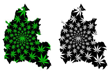 Oxfordshire (United Kingdom, England, Non-metropolitan county, shire county) map is designed cannabis leaf green and black, Oxon map made of marijuana (marihuana,THC) foliage