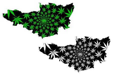 Somerset (United Kingdom, England, Non-metropolitan county, shire county) map is designed cannabis leaf green and black, Somersetshire map made of marijuana (marihuana,THC) foliage