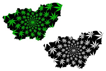 South Yorkshire (United Kingdom, England, Metropolitan county) map is designed cannabis leaf green and black, South Yorkshire map made of marijuana (marihuana,THC) foliage