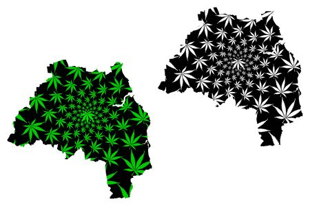 Tyne and Wear (United Kingdom, England, Metropolitan county) map is designed cannabis leaf green and black, South Tyne and Wear map made of marijuana (marihuana,THC) foliage