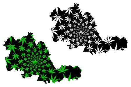 West Midlands (United Kingdom, England, Metropolitan county) map is designed cannabis leaf green and black, West Midlands (county) map made of marijuana (marihuana,THC) foliage Ilustrace