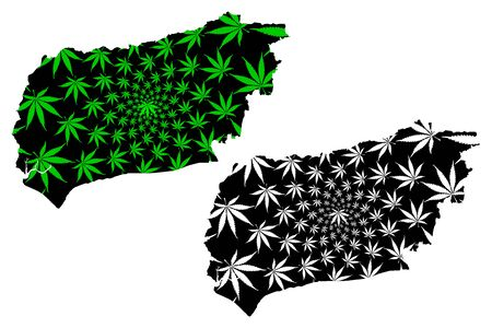 West Sussex (United Kingdom, England, Non-metropolitan county, shire county) map is designed cannabis leaf green and black, West Sussex map made of marijuana (marihuana,THC) foliage  イラスト・ベクター素材