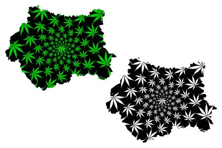 West Yorkshire (United Kingdom, England, Metropolitan county) map is designed cannabis leaf green and black, West Yorkshire map made of marijuana (marihuana,THC) foliage